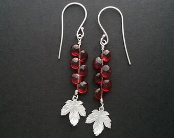 Garnet & Maple Leaf Earrings