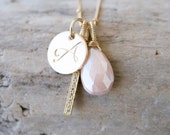 Personalized Blush and Gold Charm Necklace/ Bare and Me on Etsy/ My Etsy Wedding/ Soft Pink Charm Necklaces/ Blush Wedding Party Gift Ideas