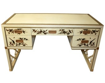 Vintage, Chinoiserie Leather-Top Desk by Sligh