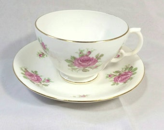 Sale! Vintage Adderley Bone China Lawley England Teacup and Saucer/Pink Floral Tea Cup/Rose Bone China Teacup/Mothers Day Gift/Brides Gift