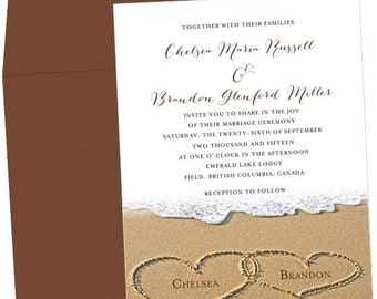 Hearts in the Sand Beachy Wedding Invitation
