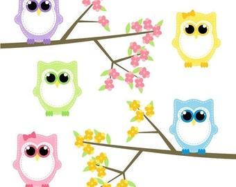 80% OFF SALE Baby Owl Clipart, Owl Clip Art, Digital Owls, Spring
