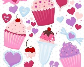 80% OFF SALE Digital Valentine Sweets, Cupcake Clipart, Digital Cupcakes, Valentine Cupcake Clipart