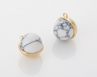 Howlite 10mm Ball Pendant, White Marble Charm, Polished Gold -Plated - 2 Pieces [G0149-PGHL]