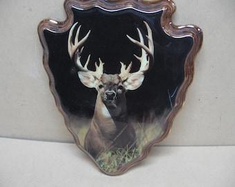 Trophy buck plaque on wood.