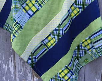 John Deere Minky Strip Quilt, Baby Blanket