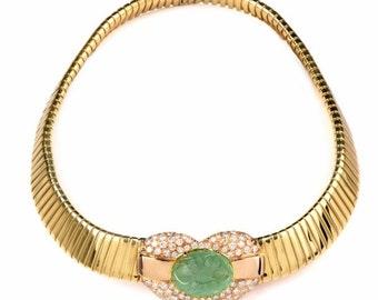 Estate 57.04cts Diamond Emerald Flexible Flat Snake Gold Chocker Necklace