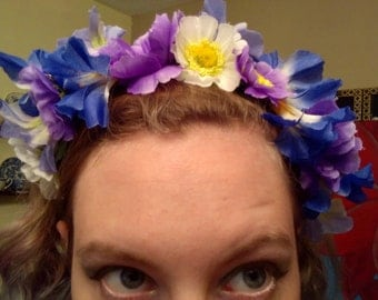 White, Purple, and Blue Flower Crown