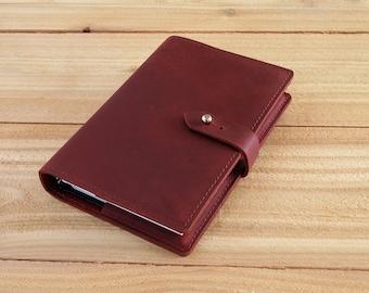 4X6 Refillable Burgundy Oil Tan, Handmade Leather Journal