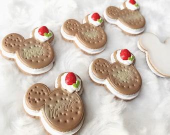 2 pcs.29x32mm.Miniature Cabochon Cookies,Miniature Cookies,Cabochon,Resin,Miniature Sweet,Mobile Accessories,Cabochon Cookies,Minnie