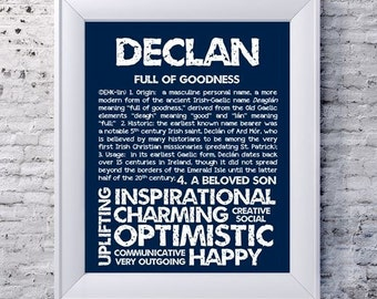 DECLAN Personalized Name Print / Typography Print / Detailed Name Definitions / Numerology-calculated Destiny Traits / Educational