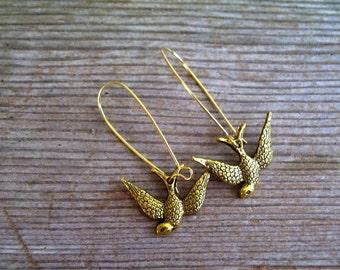 Gold Bird Earrings, Gold Swallow Earrings, Antiqued Gold Bird Earrings, Gold Bird Jewelry, Bird Jewelry, Pierced Dangle Earrings