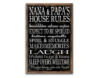"""Nana & Papa's house rules 13.25""""x19.25""""x2 Grandparent's rules wooden sign Grandparent gifts Family rules Mother's day gifts Grandparent gift"""