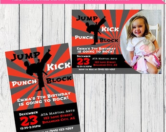 Karate / Martial Arts Personalized birthday invitation- ***Digital File*** (karate-01)