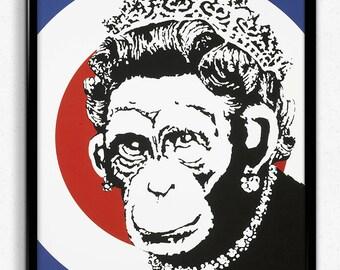 Banksy - Monkey Queen Street Art Photo / Poster / Print  A4 & A3