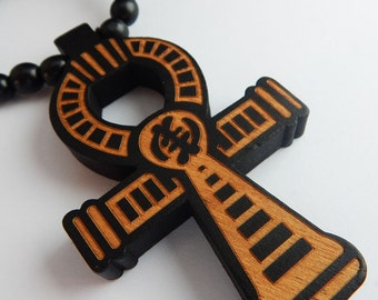 Large Ankh Necklace Wood Ankh Necklace Beaded Egyptian Necklace Mens Ankh Necklace Ankh Pendant large wooden hip hop necklace hiphop jewelry
