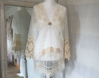Lace tunic antique laces,boho tunic lace,bohemian lace top,repurposed  , fairytale tunic , boho de lux , gypsy couture , soft cream and whit