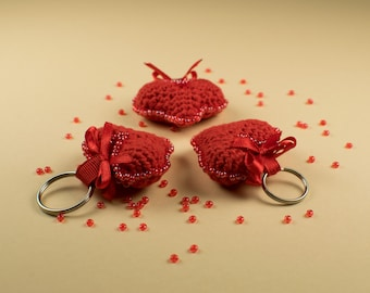 Keychain heart, Amigurumi heart, Stuffed heart, Crochet heart