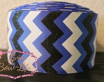 Royal Blue 3 Inch Cheer Ribbon with black and white glitter chevron -- 5 Yards!