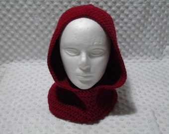 Dark red hood