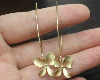 orchid flower dangle earrings long earrings wedding jewelry flower earring gift bridal jewelry bridesmaid gft fabulous flower dangle earring