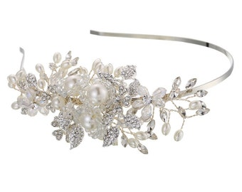 silver wedding crystal tiara, wedding tiara with pearls, bridal tiara, wedding crystal headpiece, bridal tiara, romantic wedding tiara