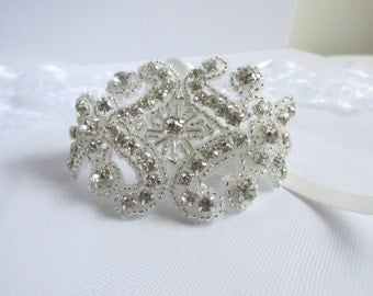 Rhinestone Bridal Cuff, Crystal Wedding Bracelet, Silver Bride Jewelry, ANY Satin Color Choices, Jewellery