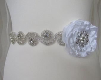 Vintage Rhinestones and crystal sash, wedding sash, jeweled sash belt wedding, bride belt sash, bridal sash belt bridesmaid belt
