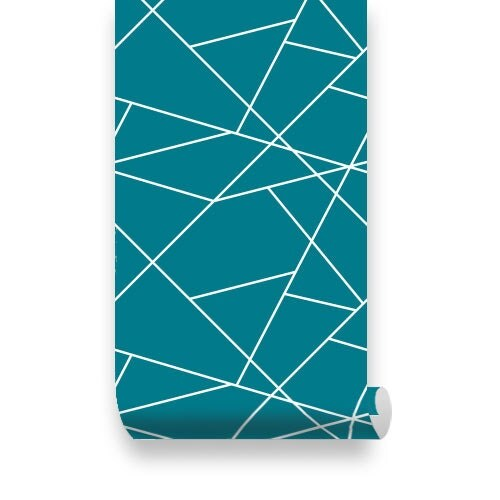 Simple line pattern teal removable wallpaper peel stick for Teal peel and stick wallpaper