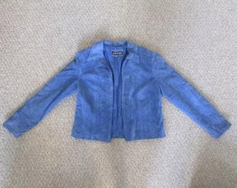 Blue Ultrasuede Suede Motorcycle Jacket 12 L