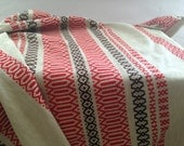Finnish table runner by Barker Textiles Woven table cloth White red patterned table cloth Scandinavian linens