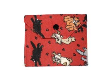 Handmade Fabric Mini Wallet/Card Holder - Cats