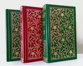 Green Red Decorative Books, Rustic Book stack, Book Set Decor, Instant Library, Shabby Chic Vintage Book Collection