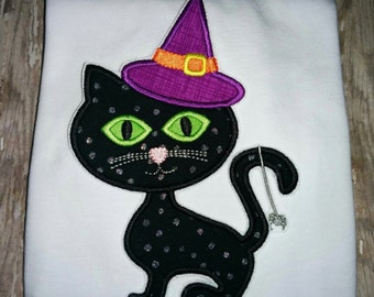 Girls Toddler Infant Halloween Witch Black Cat Boutique Birthday Party T-Shirt Shirt! Sizes 2 ,3, 4, 5, 6, 7, 8 Tshirt Embroidered Shirt