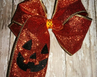 Girl Girls Toddler Baby Embroidered Pumpkin Jack O Lantern Face Orange Glitter Bow Boutique! Hair Accessory! Fall Halloween