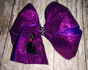Girl Girls Toddler Baby Embroidered Black Cat Purple Glitter Bow Boutique! Hair Accessory! Fall Halloween