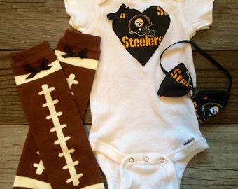 Pittsburgh Steelers baby girl onesie, steelers baby outfit,