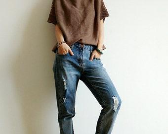 Jane's High-end Knitwear~women's batwing short sleeve V-neck jumper/sweater~loose fit rivets and eyelets deco~taupe~mink cashmere blended