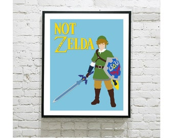 """The Legend of Zelda Digital Art Print - Link - Not Zelda - Geek Gift - Nintendo - Game - Nerd - Retro - Gamer - 8""""x10"""" Print"""