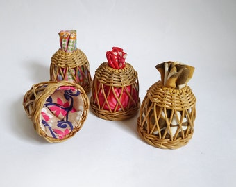 Vintage Wicker Egg Cozys Egg warmers Mid Century bohemian kitchen breackfast wicker and textile