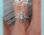 Morganite Engagement Ring - 6.5mm, 1.3ct Round Morganite Set in a 14K White gold Diamond Halo Milgrain Setting