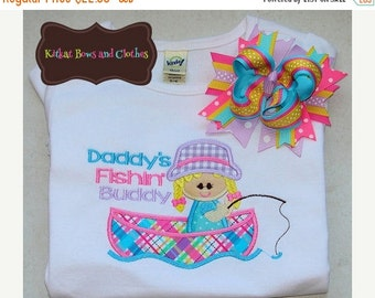 O SALE GIRL - Daddy's Fishin Buddy Applique Shirt and Matching Hairbow - Summer - Fishing - Boat