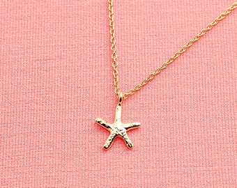 Gold or Rhodium Plated, Simple Mini Strafish  Charm, Color is Your Choice, Necklace
