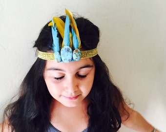 Coachella Boho chic newborn flower crown Photo Prop  hair Feather Turquoise Stone Headband Elastic Hair Accessory baby photo Bohemian Plume