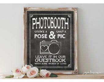 INSTANT 'PHOTOBOOTH Strike a Pose & Snap a Pic' Printable Photo Guestbook Chalkboard Wedding Guestbook Alternative Size Options