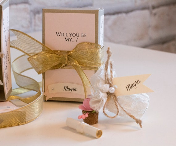 Gold and Peach Bridesmaid Gift Wedding Will you be my bridesmaid card, Message in a bottle with Gift Box