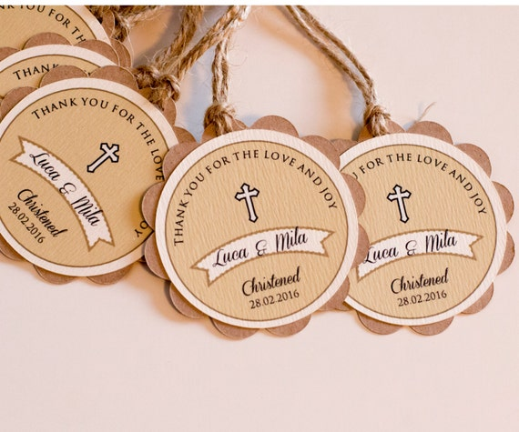 Baptism Favor Tags Rustic Christening Favor Thank You Tags  First Communion Tags, Baptism Favors Set of 12 (CHR2)