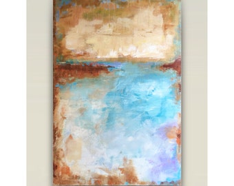 24x36 abstract painting,original fine art,acrylic on canvas,gallery wrapped canvas,teal beige abstract,horizon abstract,seascape abstract,