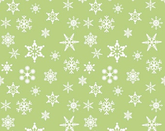 Holiday Snowflakes on Green by Riley Blake Designs, Christmas Fabric, Holiday Print 6535