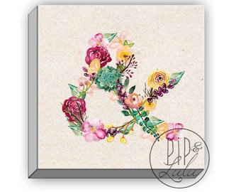 floral ampersand print, canvas wall art, large wall art, ampersand art print on canvas, flower painting, girls room decor, pastel wall art